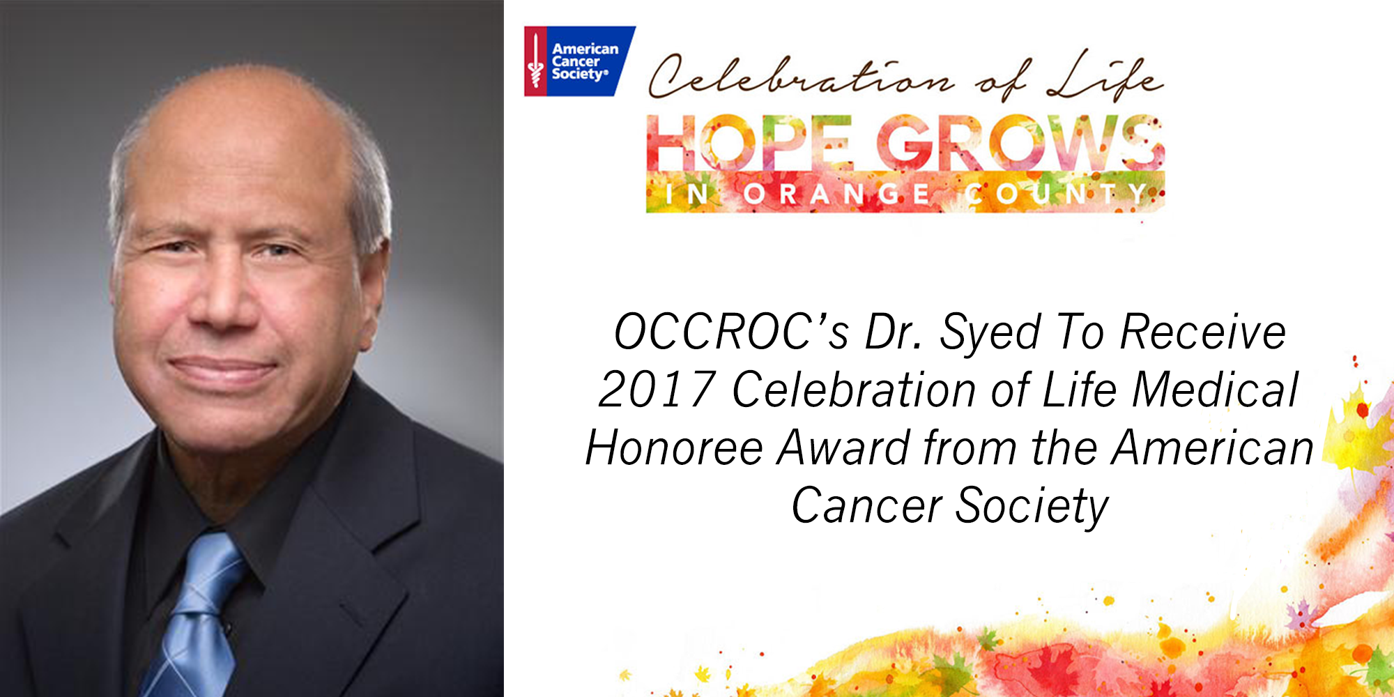 American Cancer Society To Honor Dr. Syed at Gala