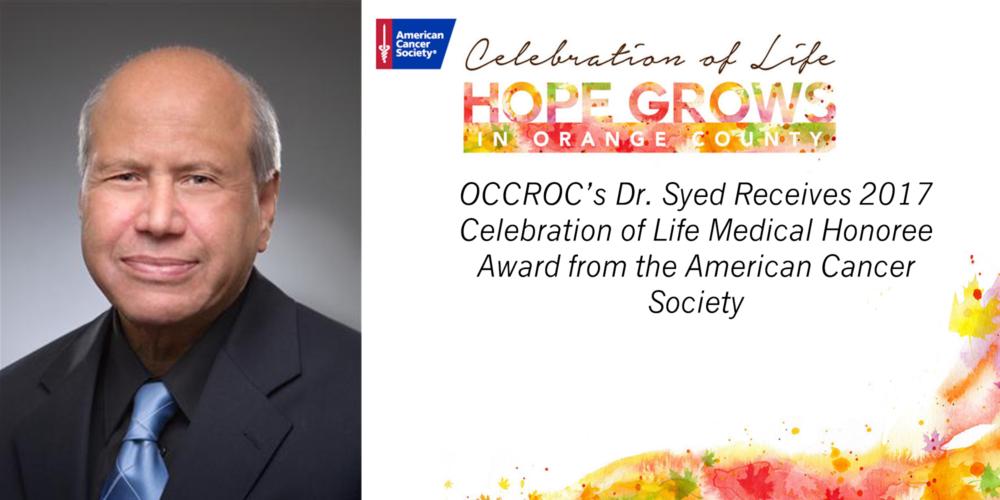 American Cancer Society Honors Dr. Syed at Gala